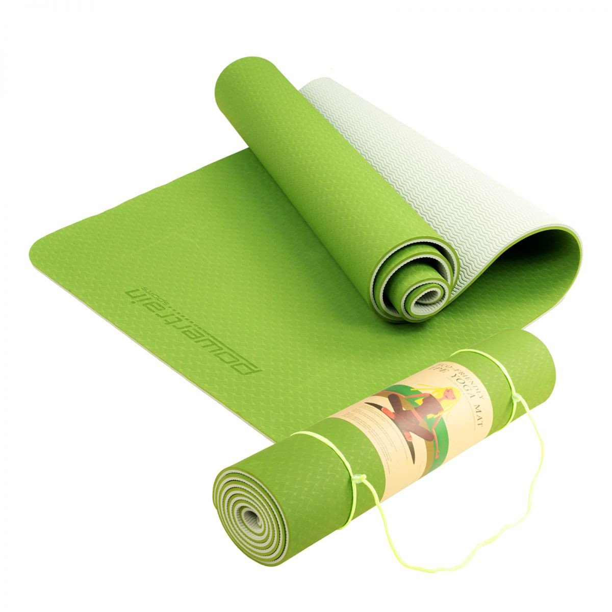 Powertrain Eco Friendly TPE Yoga Exercise Pilates Mat - Green